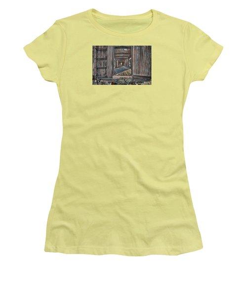 Retired Train Car Jamestown Women's T-Shirt (Junior Cut) by Steve Siri