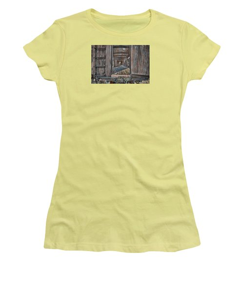 Women's T-Shirt (Athletic Fit) featuring the photograph Retired Train Car Jamestown by Steve Siri