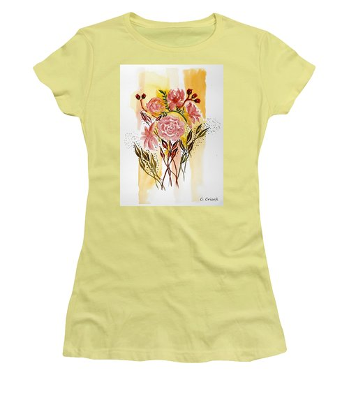 Retro Florals Women's T-Shirt (Junior Cut) by Carol Crisafi