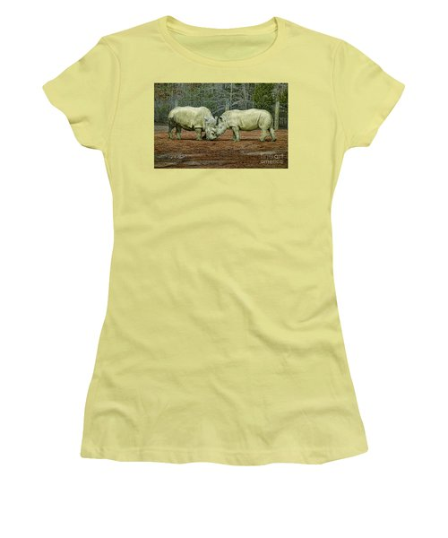 Rhinos In Love Women's T-Shirt (Athletic Fit)