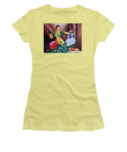 Women's T-Shirt (Junior Cut) featuring the painting Rhythms Of Tradition by Ragunath Venkatraman
