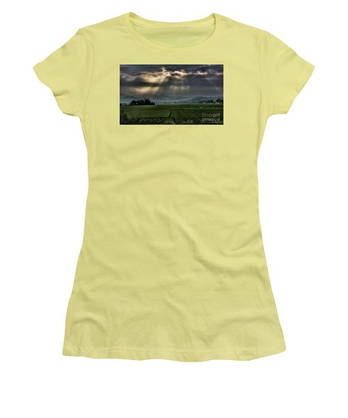 Rice Fields Rays Light  Women's T-Shirt (Junior Cut) by Chuck Kuhn