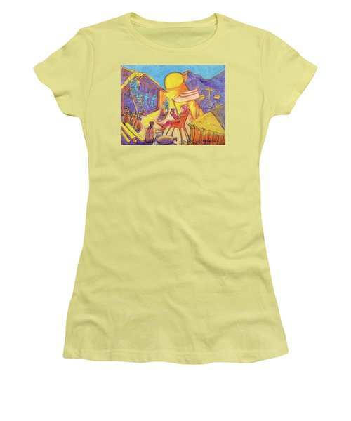 Women's T-Shirt (Junior Cut) featuring the painting Rich Fool Parable Painting By Bertram Poole by Thomas Bertram POOLE