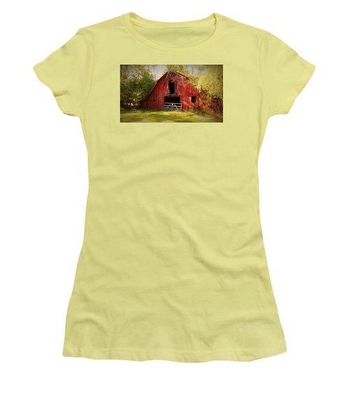 Women's T-Shirt (Junior Cut) featuring the photograph Richton Barn I by Lanita Williams