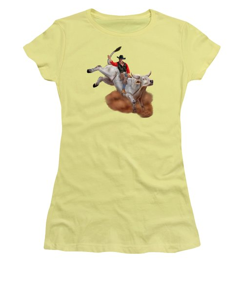 Ride 'em Cowboy Women's T-Shirt (Junior Cut) by Glenn Holbrook