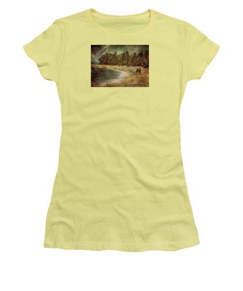 Riding On The Beach Women's T-Shirt (Junior Cut) by Vittorio Chiampan