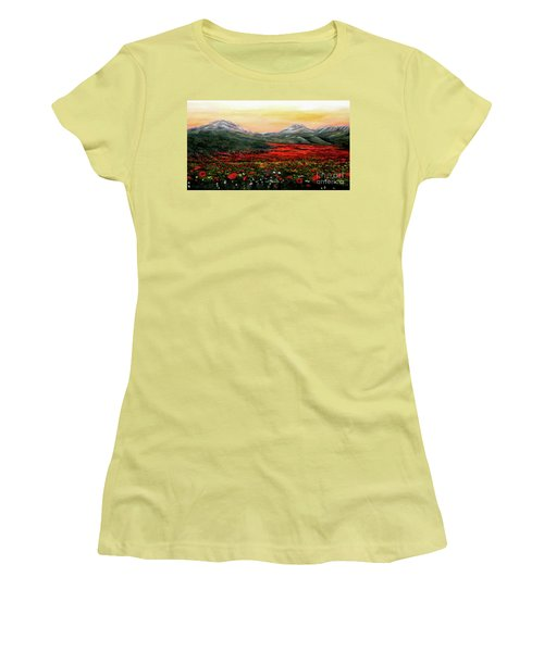 Women's T-Shirt (Junior Cut) featuring the painting River Of Poppies by Judy Kirouac