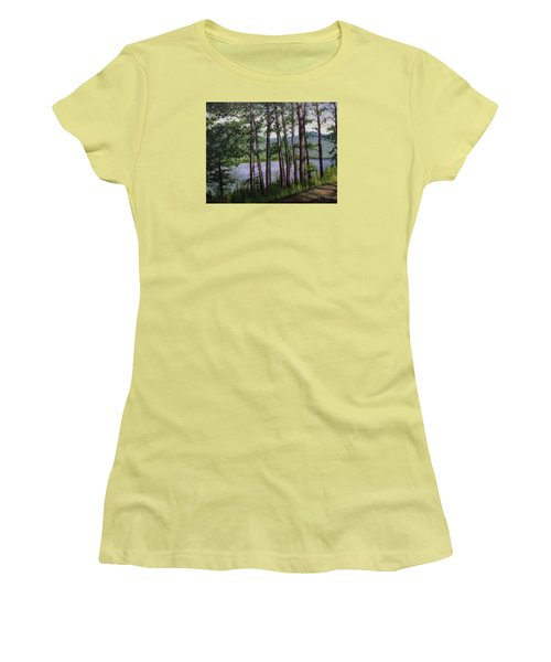 Women's T-Shirt (Junior Cut) featuring the painting River Road by Ron Richard Baviello