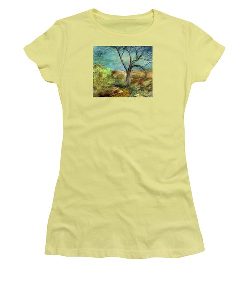 Women's T-Shirt (Junior Cut) featuring the painting Riverbed  by Annette Berglund