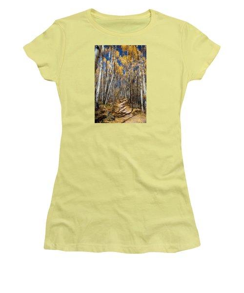 Road Through Aspens Women's T-Shirt (Junior Cut) by Michael J Bauer