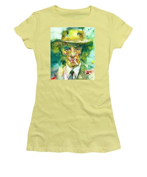 Women's T-Shirt (Junior Cut) featuring the painting Robert Oppenheimer - Watercolor Portrait.2 by Fabrizio Cassetta