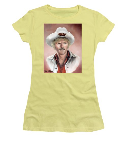 Women's T-Shirt (Junior Cut) featuring the painting Robert Redford by Loxi Sibley