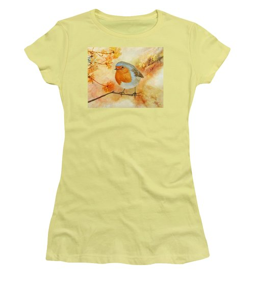 Robin Among Flowers Women's T-Shirt (Athletic Fit)