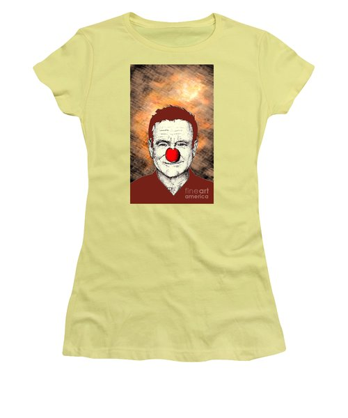 Women's T-Shirt (Junior Cut) featuring the drawing Robin Williams 2 by Jason Tricktop Matthews