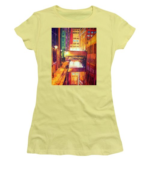 Rochdale Canal With Lock At Night Women's T-Shirt (Athletic Fit)