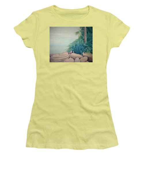 Rocks And Palm Tree Women's T-Shirt (Athletic Fit)