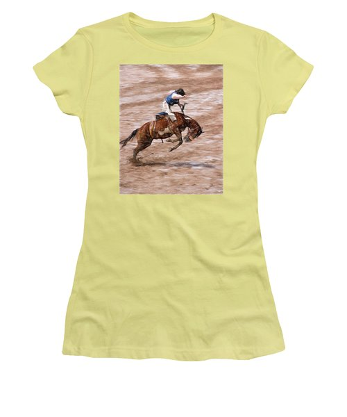 Women's T-Shirt (Junior Cut) featuring the photograph Rodeo Bronc Rider by John Freidenberg