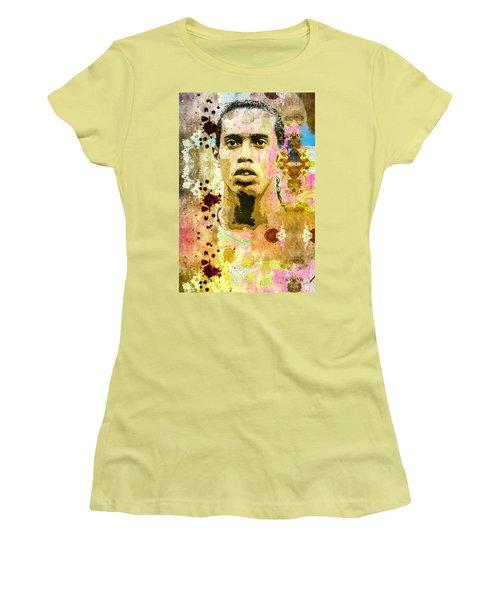 Women's T-Shirt (Junior Cut) featuring the mixed media Ronaldinho Gaucho by Svelby Art