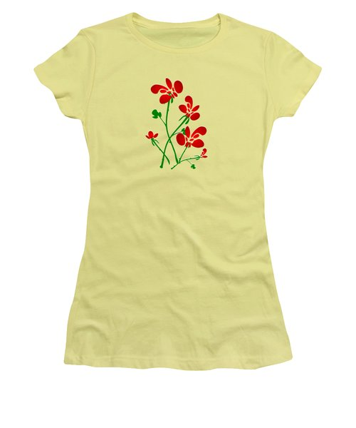 Rooster Flowers Women's T-Shirt (Junior Cut) by Anastasiya Malakhova