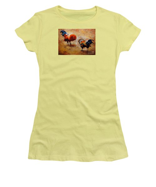 Roosters  Scene Women's T-Shirt (Athletic Fit)