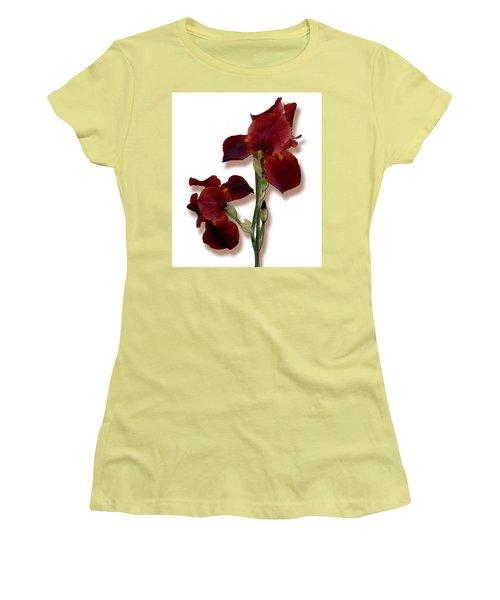 Root Beer Irises Women's T-Shirt (Junior Cut) by Tara Hutton