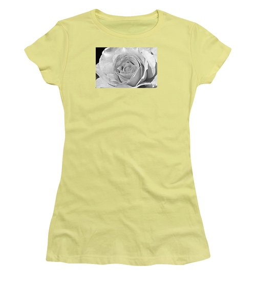 Women's T-Shirt (Junior Cut) featuring the photograph Rose In Black And White by Mindy Bench