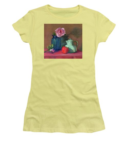 Rose In Blue Jar Women's T-Shirt (Athletic Fit)