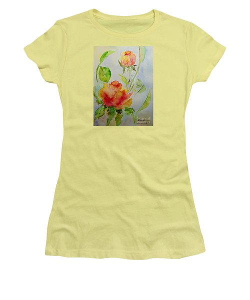 Women's T-Shirt (Junior Cut) featuring the painting Roses  by AmaS Art