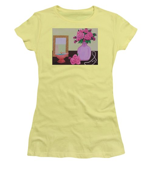 Women's T-Shirt (Junior Cut) featuring the painting Roses And Pearls by Hilda and Jose Garrancho