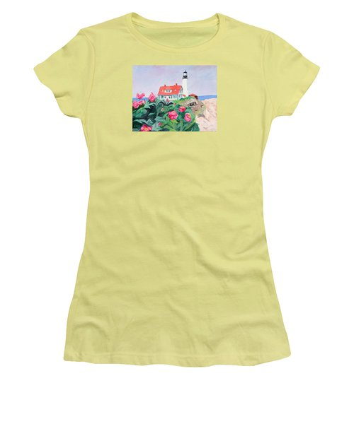 Roses At Portland Headlight Women's T-Shirt (Athletic Fit)