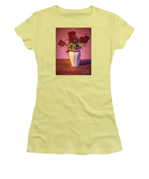 Women's T-Shirt (Junior Cut) featuring the photograph Roses In Vase  ... by Chuck Caramella