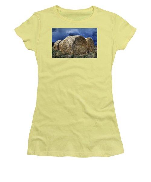 Women's T-Shirt (Junior Cut) featuring the photograph Round Bales by Brad Allen Fine Art