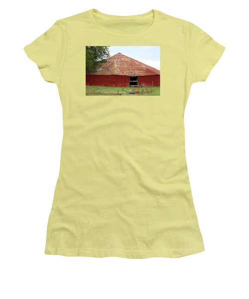 Women's T-Shirt (Junior Cut) featuring the photograph Round Red Barn by Sheila Brown