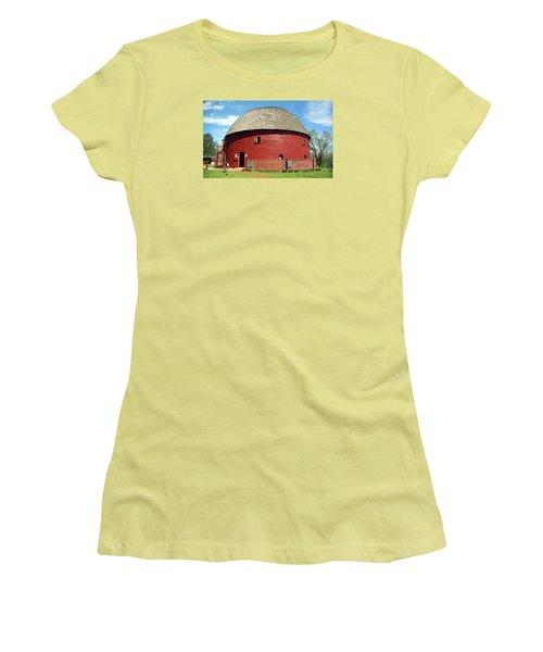 Route 66 - Round Barn Women's T-Shirt (Junior Cut) by Frank Romeo