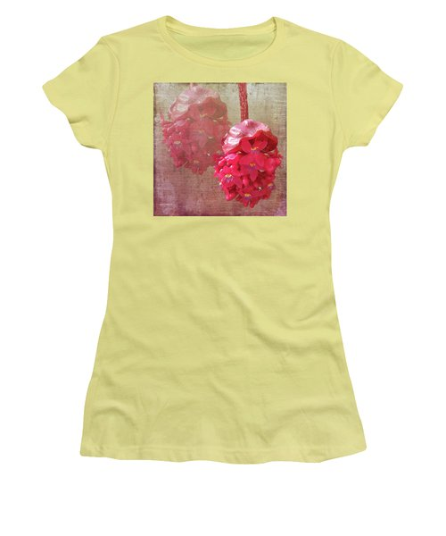 Ruby Colored Orchid Women's T-Shirt (Junior Cut) by Rosalie Scanlon