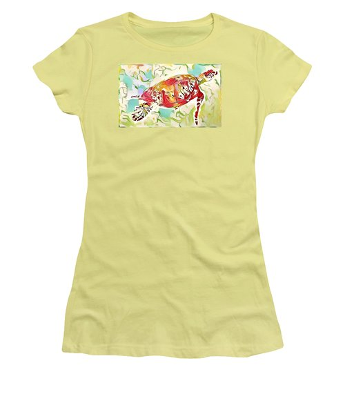 Ruby The Turtle Women's T-Shirt (Junior Cut) by Erika Swartzkopf