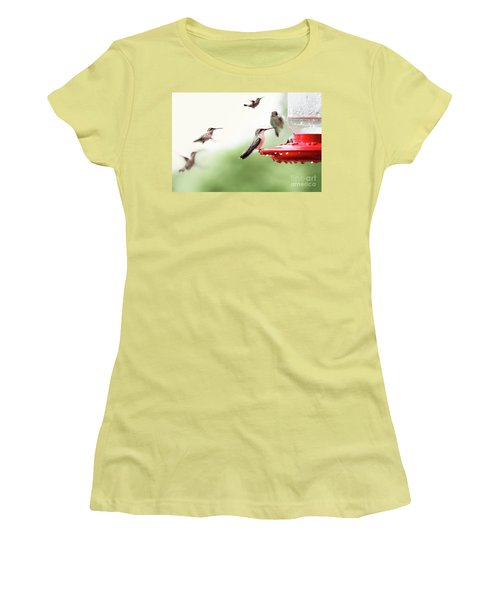 Women's T-Shirt (Junior Cut) featuring the photograph Ruby-throated Hummingbirds by Stephanie Frey