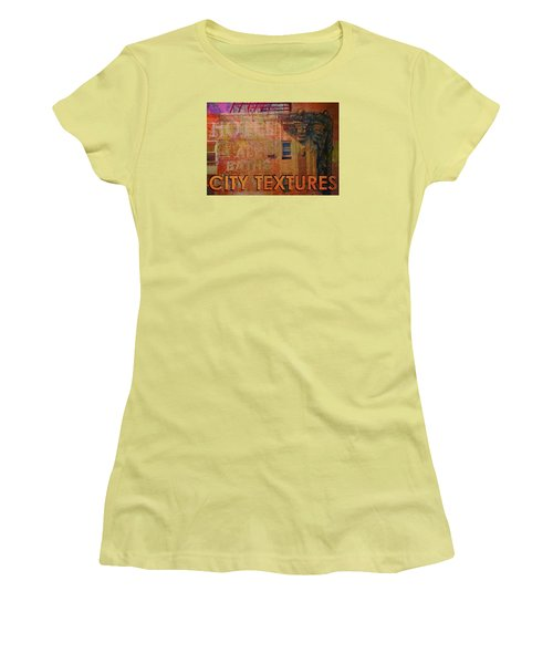Women's T-Shirt (Junior Cut) featuring the mixed media Ruby Vintage Urban Textures by John Fish