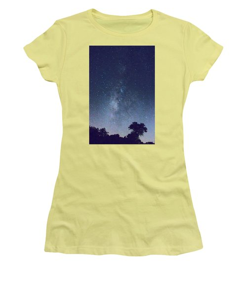 Running Dog Tree And Galaxy Women's T-Shirt (Athletic Fit)