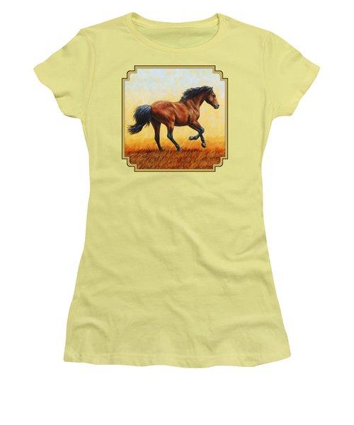 Running Horse - Evening Fire Women's T-Shirt (Junior Cut) by Crista Forest