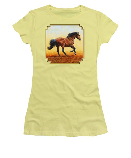 Running Horse - Evening Fire Women's T-Shirt (Athletic Fit)