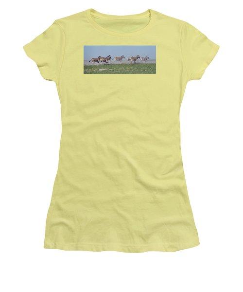 Running Zebras Women's T-Shirt (Junior Cut) by Bruce W Krucke