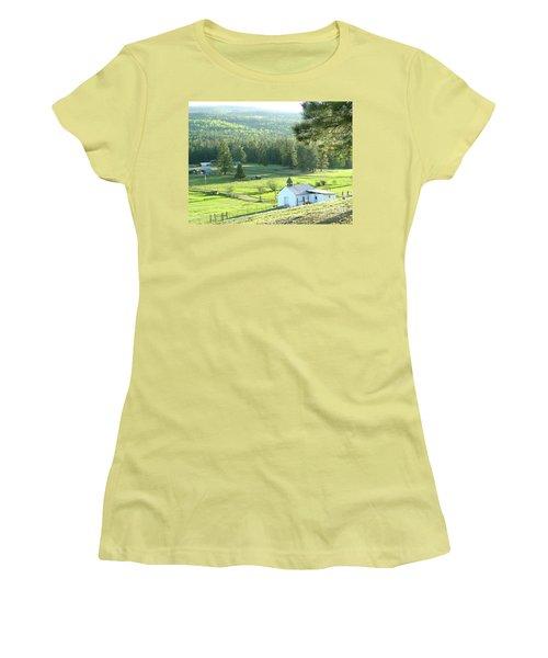 Rural Church In The Valley Women's T-Shirt (Junior Cut) by Cindy Croal