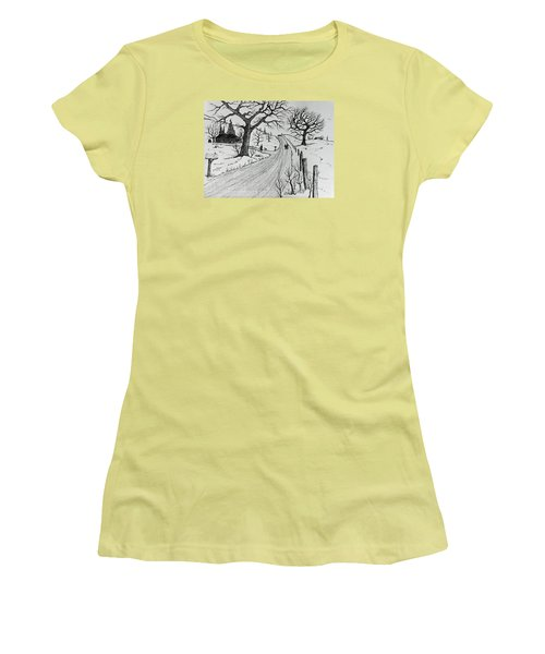 Women's T-Shirt (Junior Cut) featuring the drawing Rural Living by Jack G Brauer