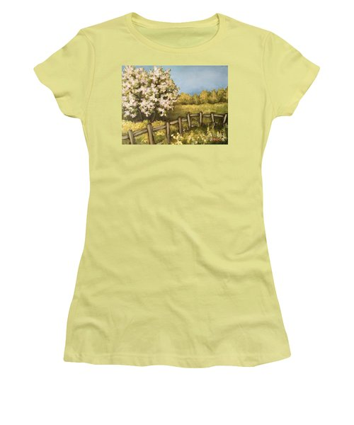Women's T-Shirt (Junior Cut) featuring the painting Rural Spring by Inese Poga