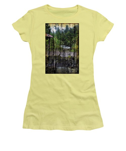 Rushing Cascade In The Andes - On Bark Women's T-Shirt (Junior Cut) by Al Bourassa