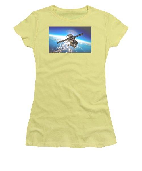 Women's T-Shirt (Junior Cut) featuring the digital art Majestic Blue Planet Earth by Maciek Froncisz