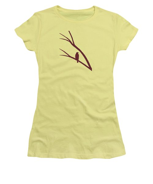 Rustic Bird Art Dark Red Bird Silhouette Women's T-Shirt (Athletic Fit)