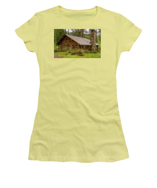 Women's T-Shirt (Junior Cut) featuring the photograph Rustic Cabin by Jerry Cahill