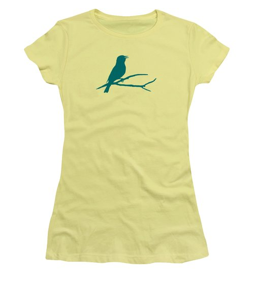 Women's T-Shirt (Junior Cut) featuring the mixed media Rustic Green Bird Silhouette by Christina Rollo